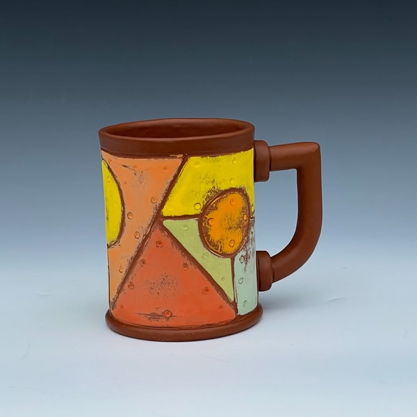 Rivet Metal Mug With Terra Cotta Glaze Art | Gerard Ferrari LLC