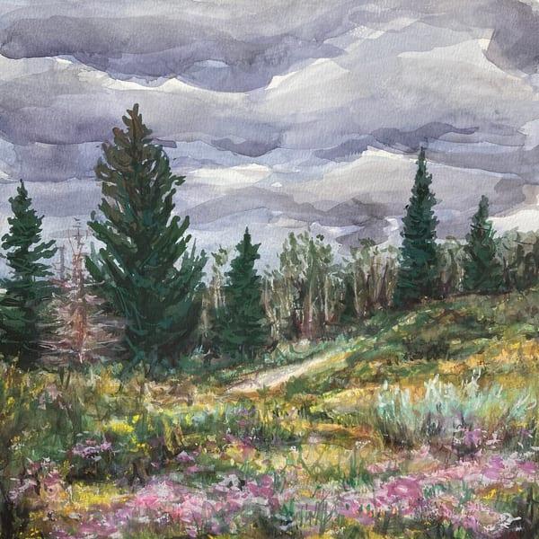 watercolor-pine-trees, pine-trees, watercolor-landscape