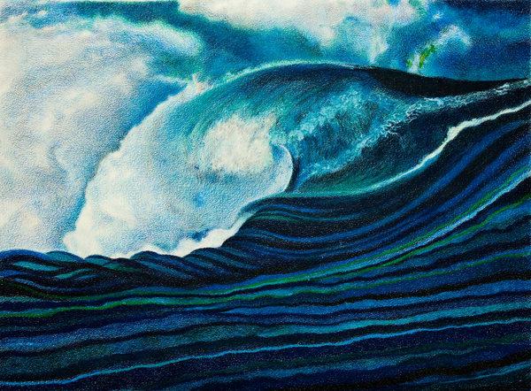 OCEAN WAVE RISING IN BLUES