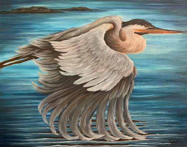Hoke Gliding Heron 24x28 Art | Friday Harbor Atelier