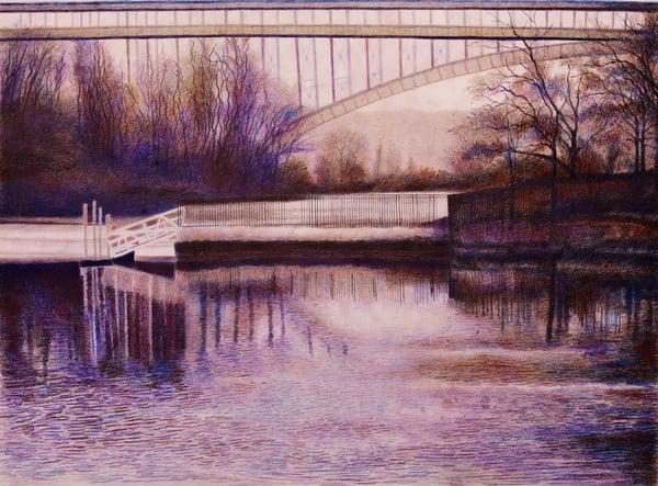 Still Waters By The Henry Hudson Bridge Nyc   lencicio