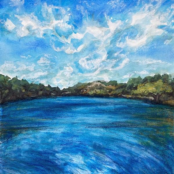 watercolor-landscape, lake-painting, watercolor-lake, blue-lakes