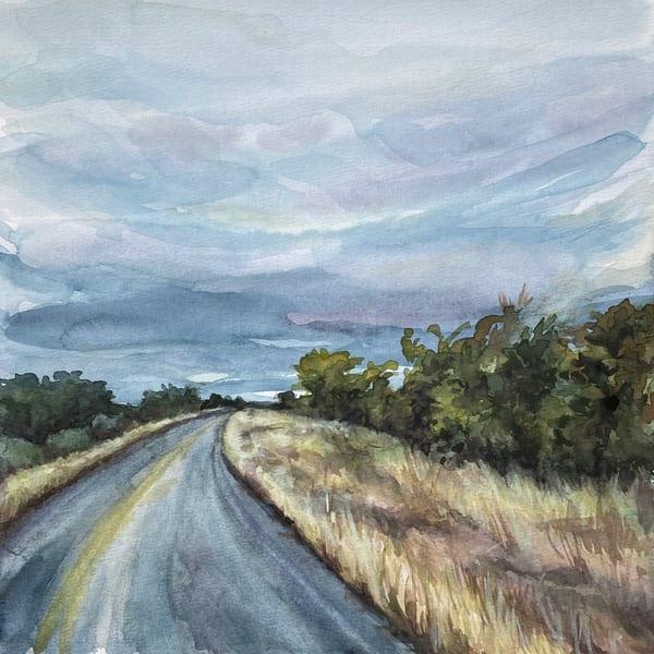 highway, watercolor-landscape, roads, texas-art, golden-grass