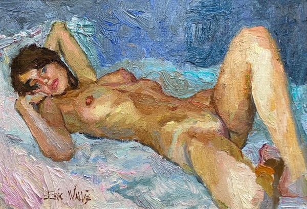 "Original nude painting by Eric Wallis titled, ""Expressionistic Nude."""