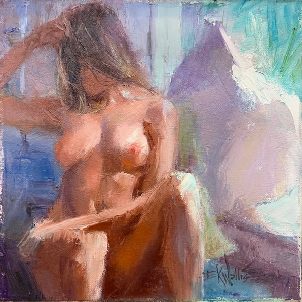 "Original nude painting by Eric Wallis titled, ""By the North Window."""