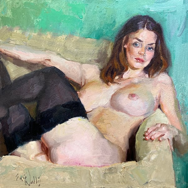"Original nude painting by Eric Wallis titled, ""Nude With Green Background."""