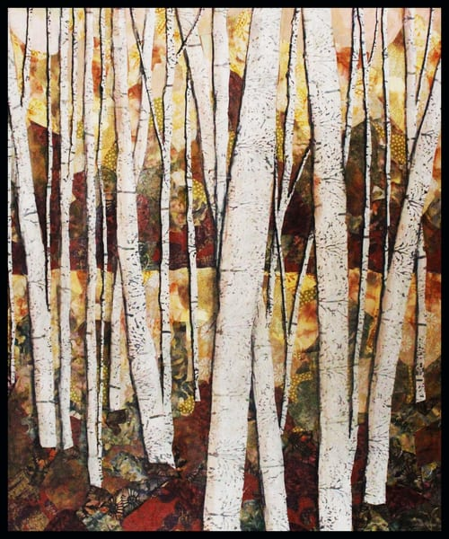 Autumn Trees is a textile mosaic by Sharon Tesser