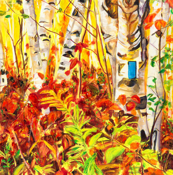 Prints / reproductions of the painting Autumn Joy, featuring a grove of birches backlit and glowing along the a Bruce Trail side trail in Conservation Halton's Mount Nemo Conservation Area by Burlington artist Janet Jardine.