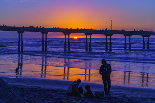 Ocean Beach, San Diego Pier Sunset With Family Fine Art Print Art | McClean Photography