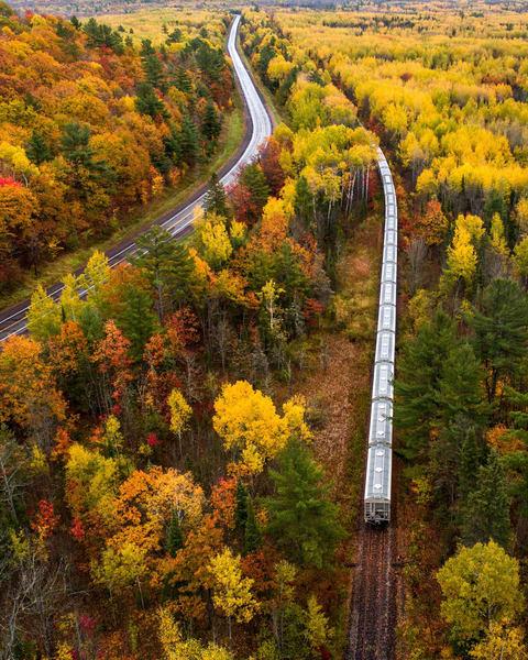 Railroad and abandoned train in Michigan's Upper Peninsula
