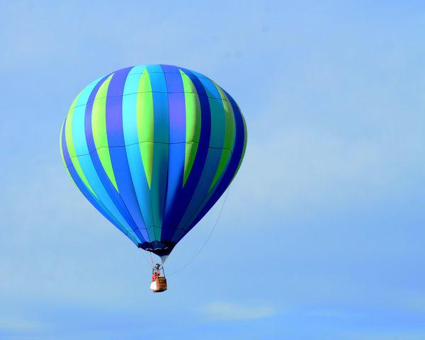 Blue And Green Striped Hot Air Balloon Art   Bellz Artistry