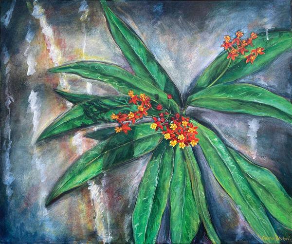 Tropical Milkweed acrylic painting shop fine art