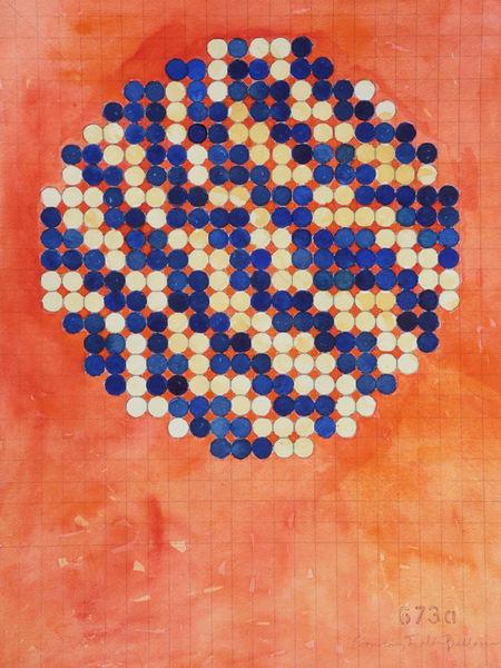 Circle Circle, Navy And Cream On Orange Art   Courtney Miller Bellairs Artist