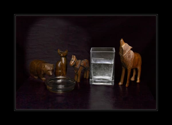 Fine Art Photograph of Wooden Animals with Water by Michael Pucciarelli