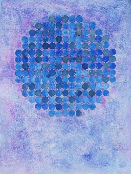 Circle Circle, Navy On Violet Art   Courtney Miller Bellairs Artist