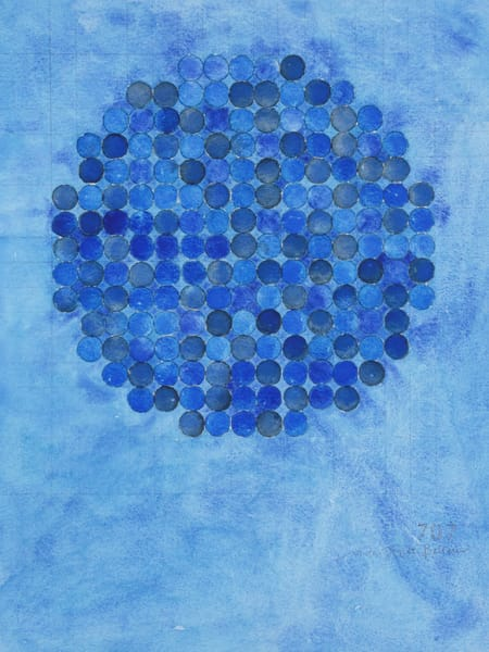 Circle Circle, Blue On Blue Art   Courtney Miller Bellairs Artist