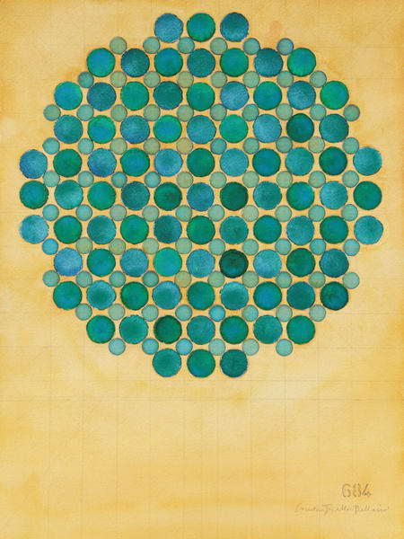 Circle Circle, Green And Blue On Buff Art | Courtney Miller Bellairs Artist