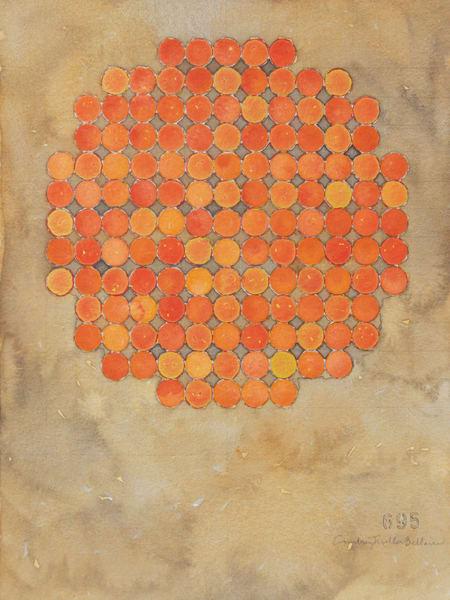 Circle Circle Vermillion On Brown Art | Courtney Miller Bellairs Artist