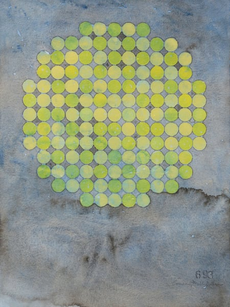 Circle Circle, Lime On Cool Gray Art | Courtney Miller Bellairs Artist