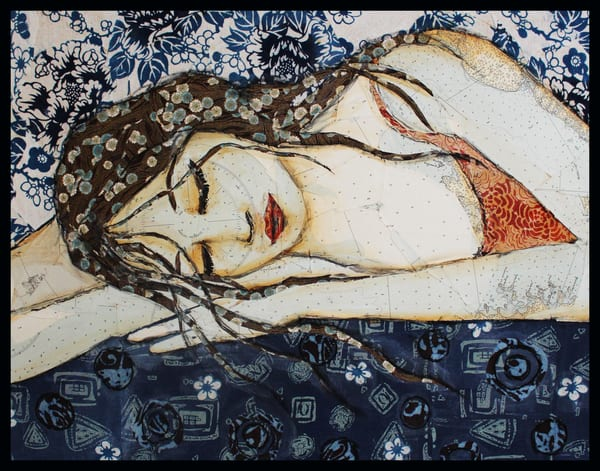 Sleeping Beauty another textile mosaic by Sharon Tesser