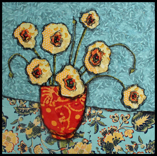 Golden Blooms is a textile mosaic by Sharon Tesser