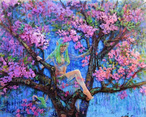 Cherry tree nymph art print
