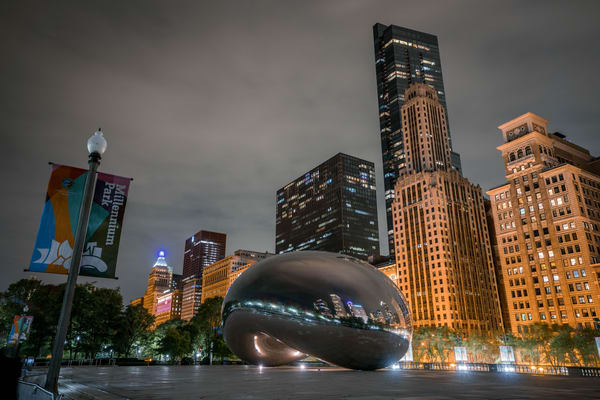 Millenium Park In Chicago At Night Photography Art   William Drew Photography