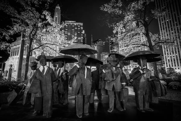 The Gentlemen Statue Chicago Black And White Photography Art | William Drew Photography
