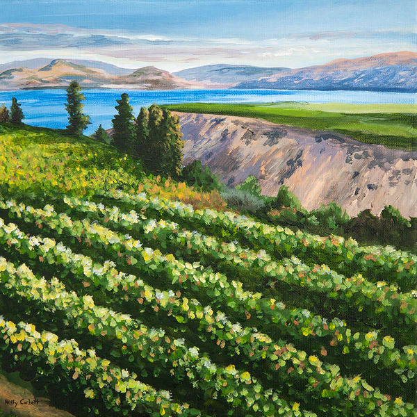 12x12 painting of the Naramata Bench in Penticton