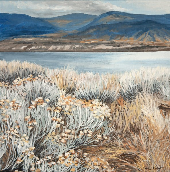 12x12 painting of the winter view from west Penticton