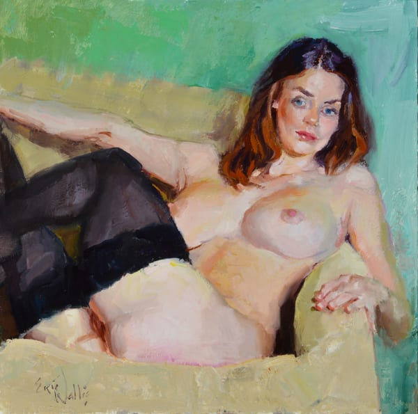 "Print of a nude painting by Eric Wallis titled, ""Nude With Green Background"""