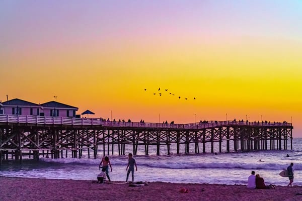 Crystal Pier, Pacific Beach Surfers and People Sunset Fine Art Print