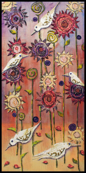 Feathers and Flowers, an original textile mosaic by Sharon Tesser