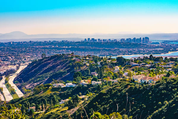 Mount Soledad, La Jolla Downtown View Fine Art Print by McClean Photography