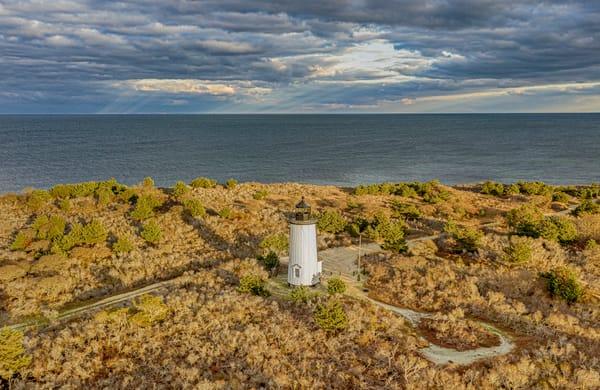 Cape Poge Light Offshore Sunbeams Art   Michael Blanchard Inspirational Photography - Crossroads Gallery