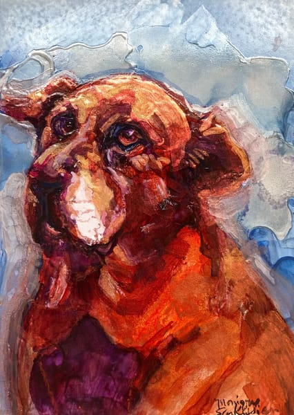 """Red Dog Portrait"" animal art alcohol ink painting of  a beloved red labrador by Monique Sarkessian makes a perfect dog lover gift."