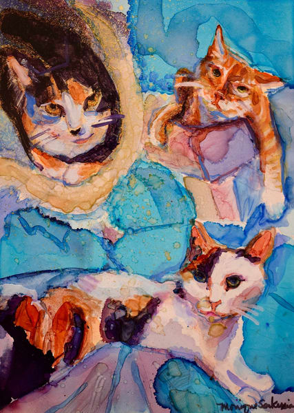 """Cat Trio"" animal art alcohol ink painting of 3 beloved felines by Monique Sarkessian makes a perfect cat lover gift."
