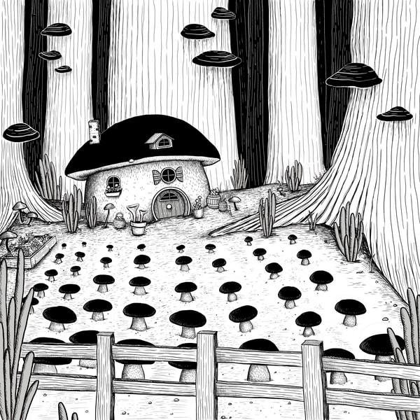 Mushroom Farm Art | Cool Art House - online art gallery with hip emerging artists. Collect cool art you can view on your own wall before you invest!