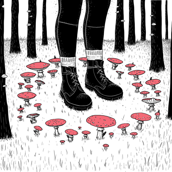 Through the Fairy Ring Amanita Muscaria Fly Agaric Mushroom Art Print