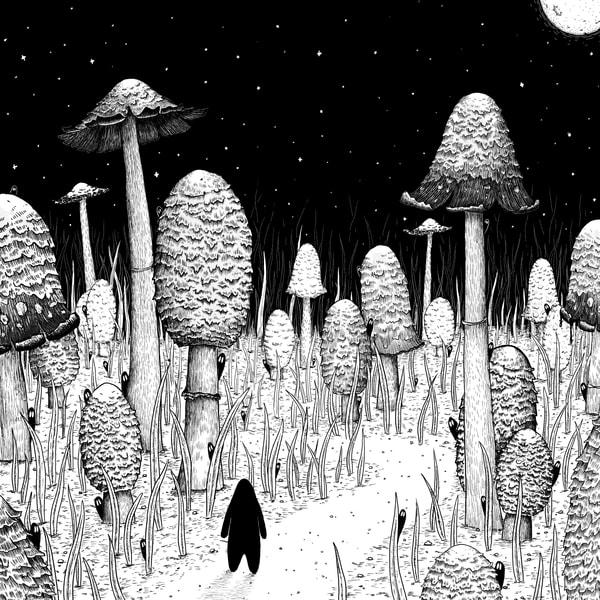 Inkcap Trail Mushroom Art Print