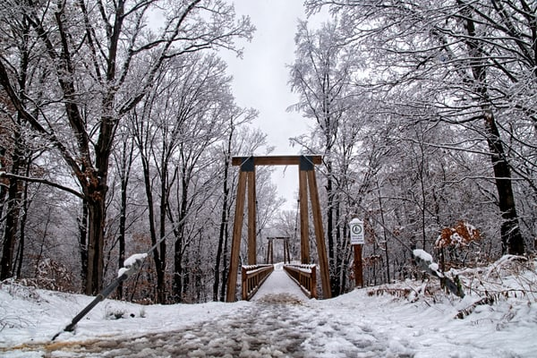 Walking Snow Covered Bridge
