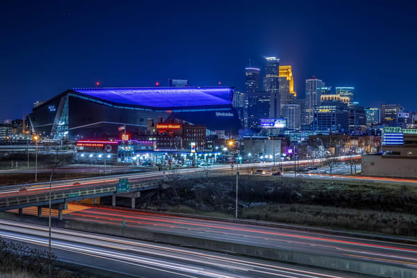 The City and Stadium - Minneapolis Skyline Art | William Drew