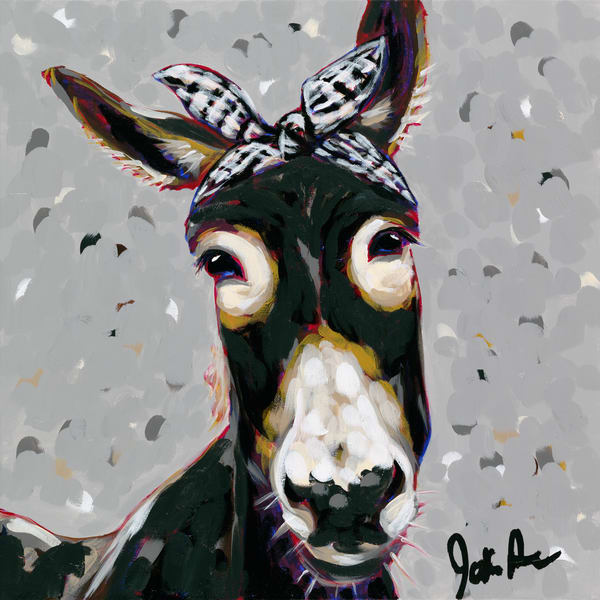 Donna is a portrait of a donkey with a black and white checkered bandana.