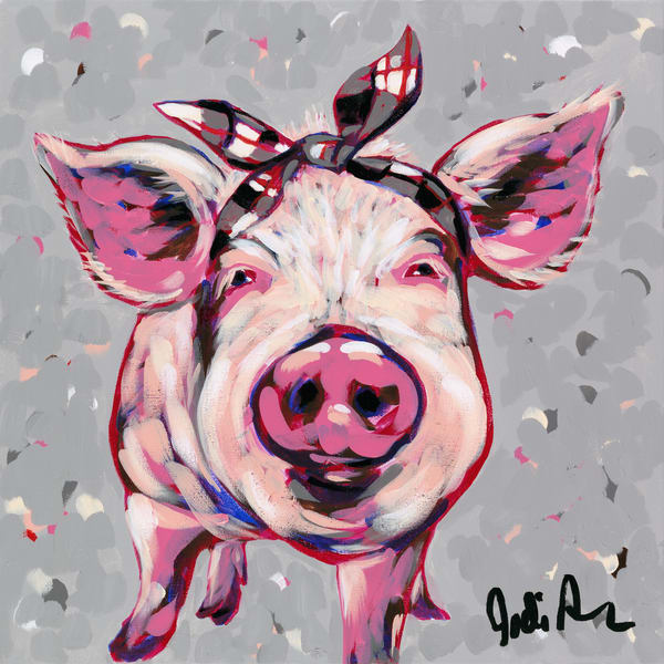 A pink pig wearing a black and white bow.
