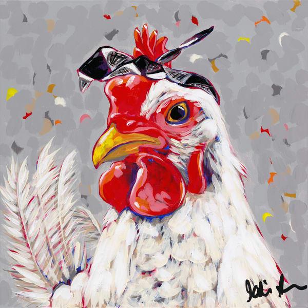 Rosie the badass chick sporting a black and white checkered bandana.