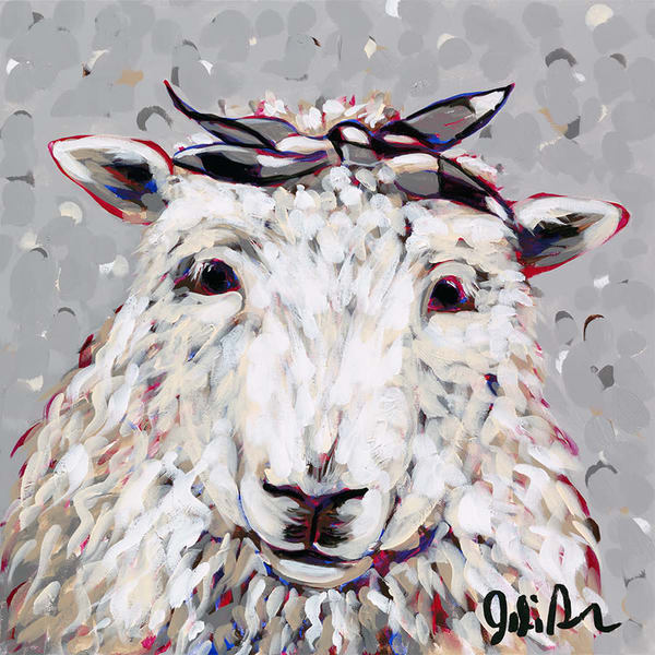 Original acrylic painting of a sheep wearing a bow.