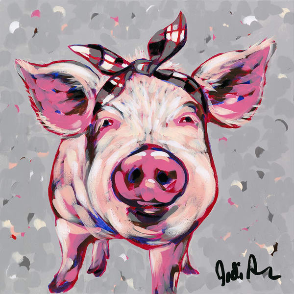Original acrylic painting of a pink pig wearing a black and white bandana.