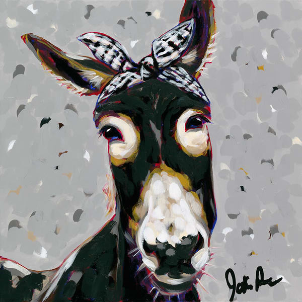 Donna the donkey is a farmhouse-style original painting by Jodi Augustine.