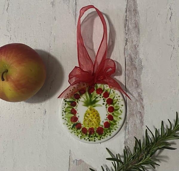 Pineapple Wreath Porcelain Ornament Art | Kristine Kainer