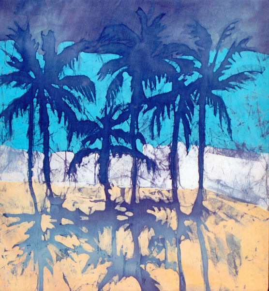Breezy Palms is a print of a batik painting on rayon by artist Muffy Clark Gill